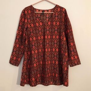 Boho Patterned Long Sleeved Shift Dress
